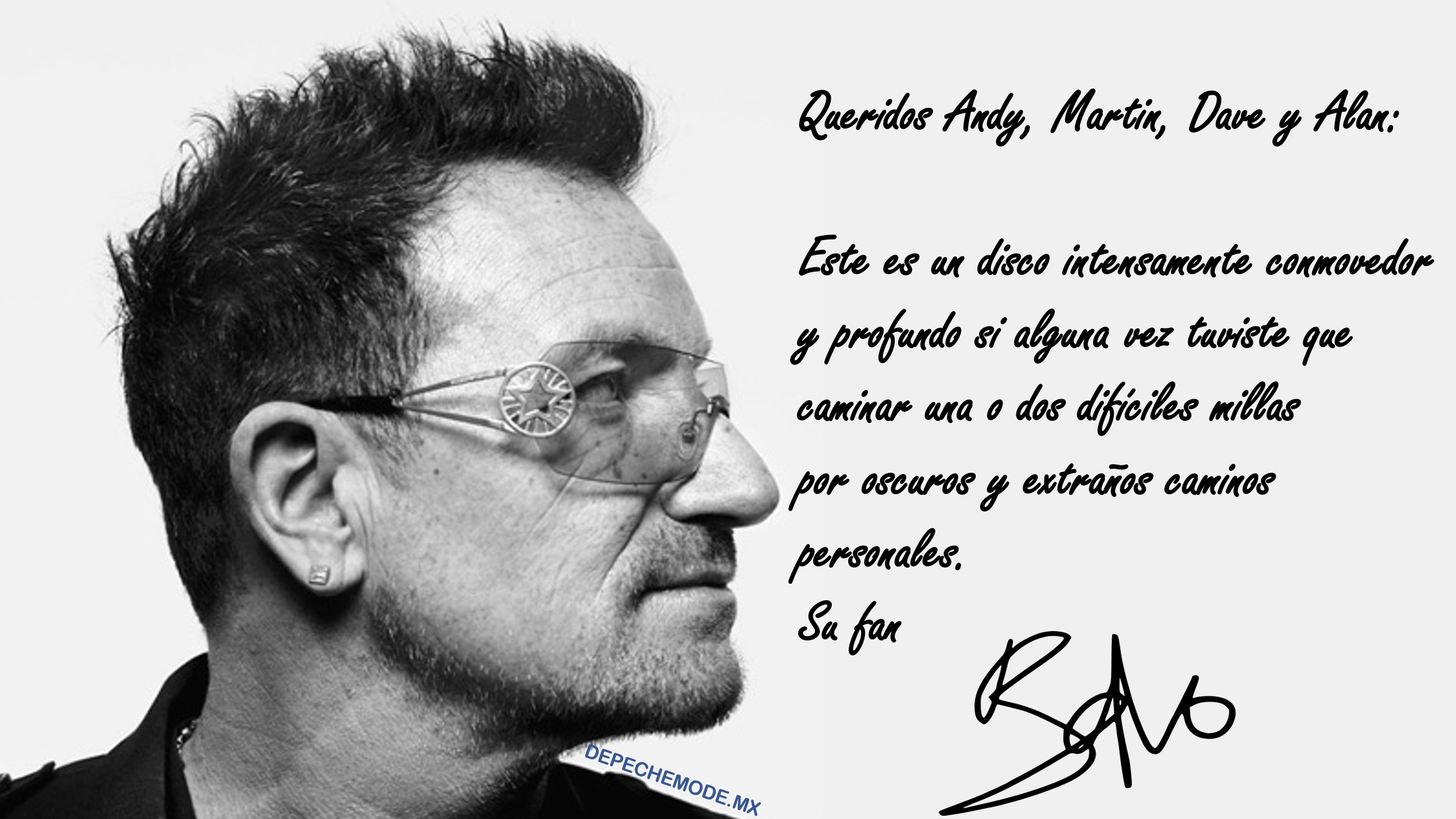 CARTA BONO U2 A DEPECHE MODE